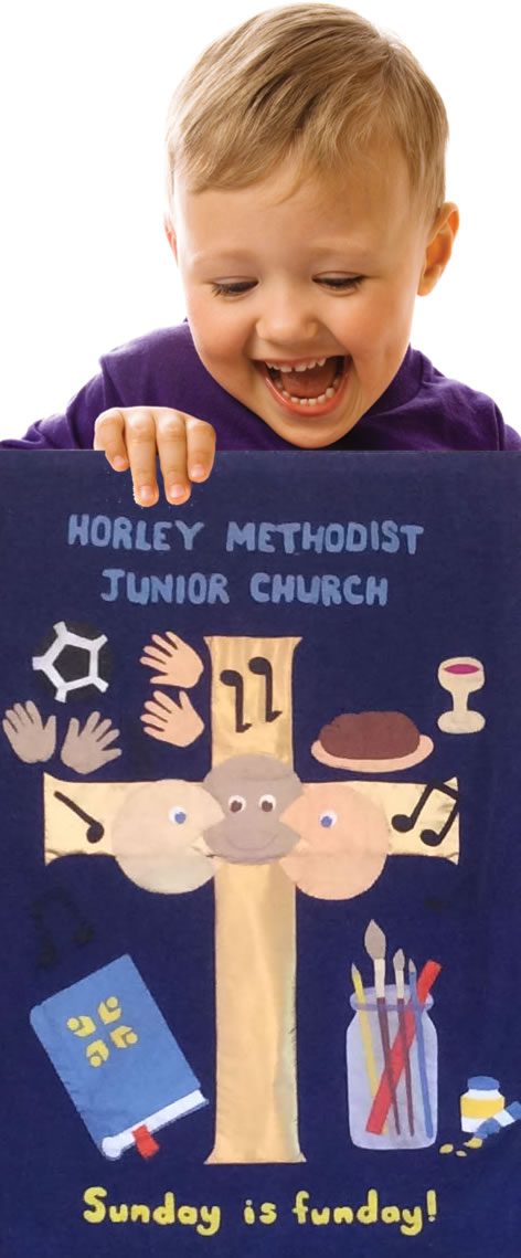 Child With Junior Church Banner